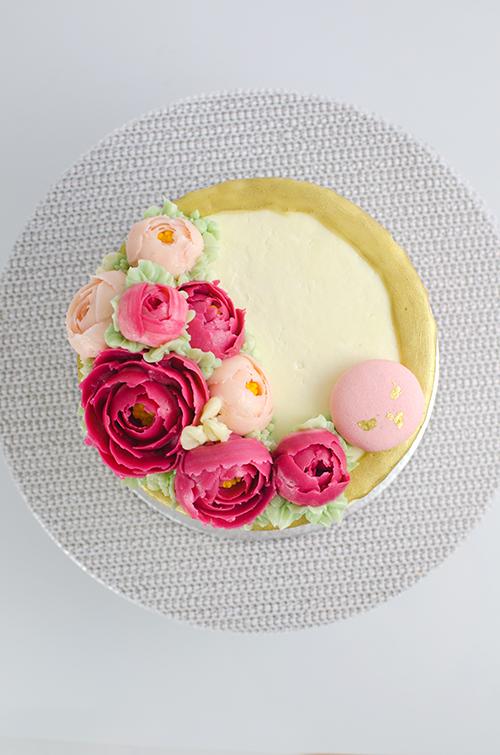 buttercream flower peony cake