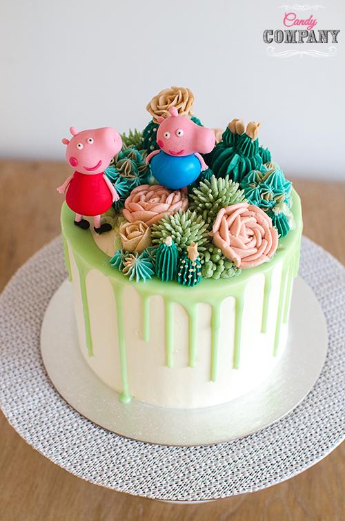 Peppa succulent buttercream cake