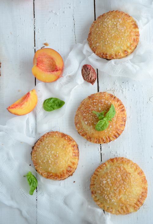 peach basil handmade pie