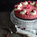 Cornelian cherry brownie mousse cake, gluten free. Elegant and easy to make dessert