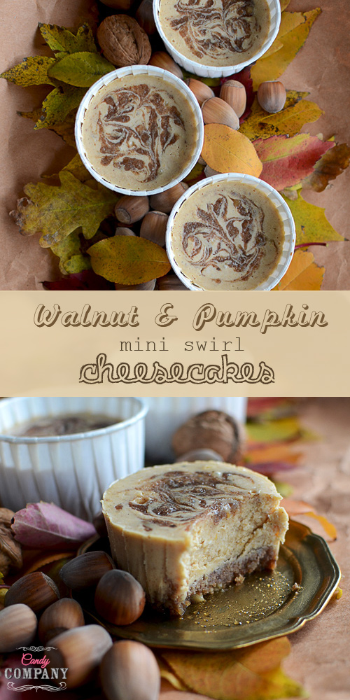 Walnut & pumpkin mini swirl cheesecake is a great autumn dessert, easy to make, delicious and full of flavors. Crunchy graham and walnut crust, smooth pumpkin cheesecake and walnut cinnamon swirl.