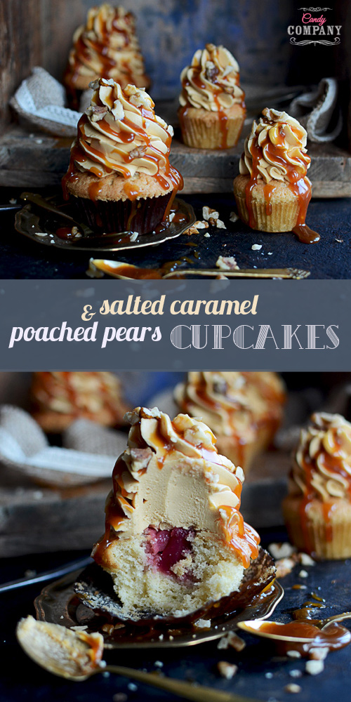 Delicious poached pear cupcakes with salted caramel Swiss meringue buttercream and salted caramel sauce drizzle