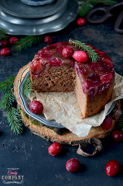upside down cranberry gingerbread cake perfect dessert for Christmas