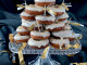 Mini donuts with cream cheese, yogurt and boozy glaze