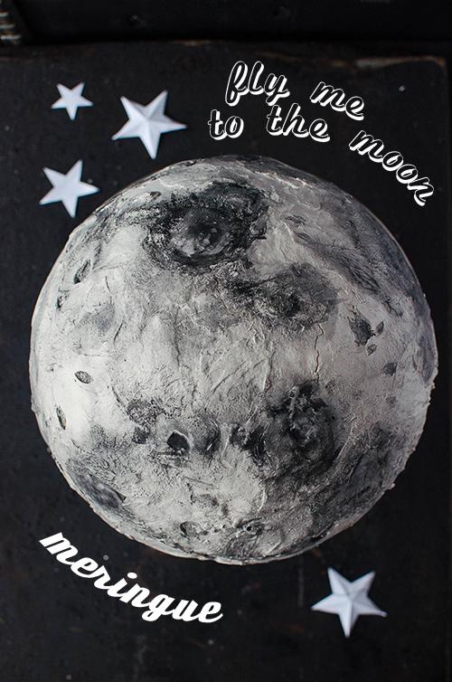 Moon meringue cake with black sesame mascarpone filling