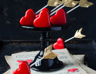 Chocolate and chili cake pops with red mirror glaze perfect romantic gift for Valentines!