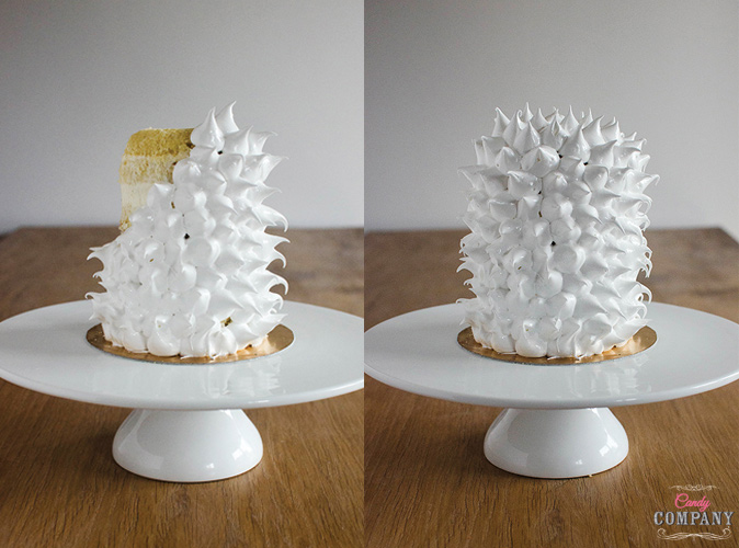 Pineapple like cake with pineapple basil filling, Swiss meringue decoration and chocolate leaves
