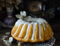 Traditional PolishEaster babak - yeast bundt cake with raisins and lemon glaze