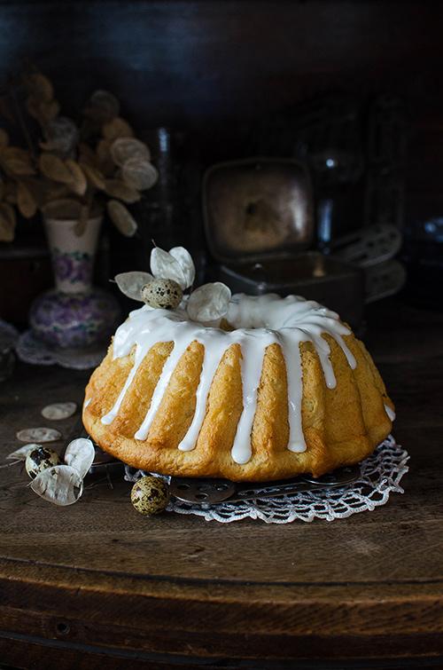 Traditional PolishEaster babak - yeast bundt cake with raisins and lemon glaze