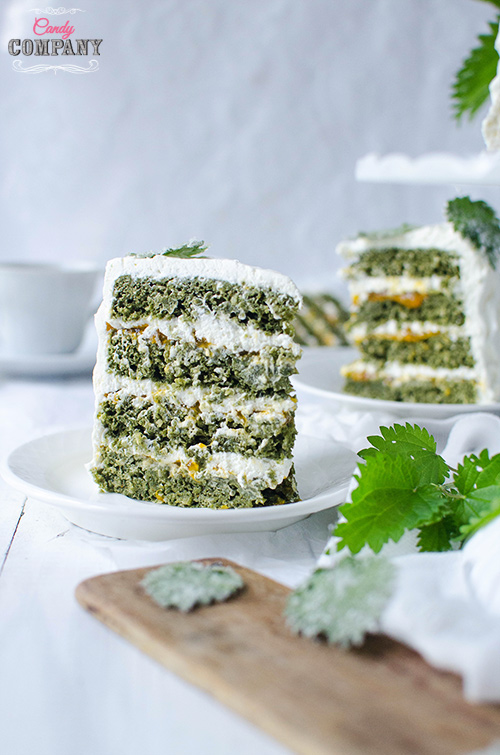 Healthy coconut nettle layer cake with mandarin compote