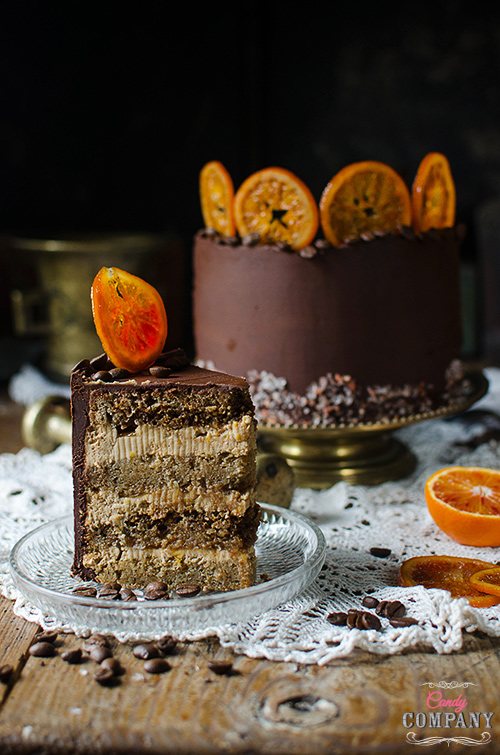 Coffee and blood orange layer cake