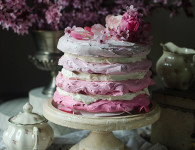Raspberry ombre meringue cake with raspberries and mascarpone frosting
