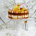 Passion fruit cake with passion fruit caramel and orange sponge cake. Pithaja decorated