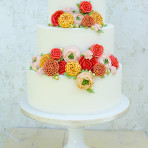 Piped buttercream flower cake