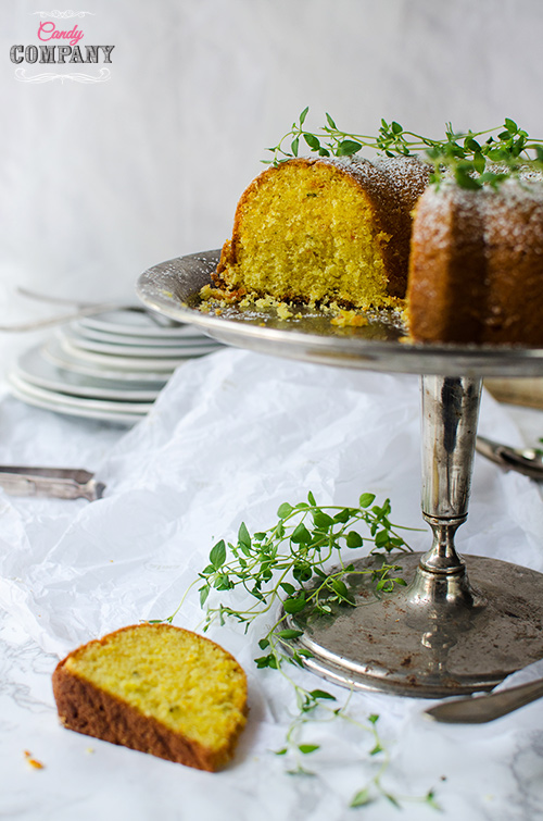 Olive oil cake with thyme, oranges and lemons