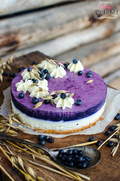 gluten free blueberry oat tart with powdered milk and buttermilk mousse
