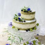 Matcha gooseberry mousse cake with black raspberries