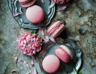 Corneliancherry macaroons , the best macaroons ever. Food photography by Candy Company