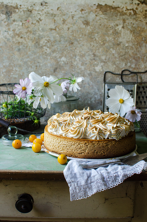 mirabelle plum cheesecake with toasted italian meringue