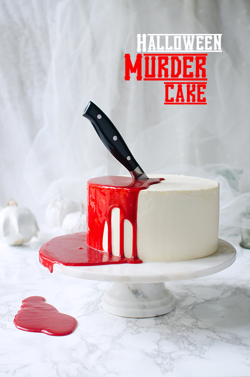 Hallowen Murder cake. Recipe for the best red velvet cake with sour cherries. Food photography by Candy company