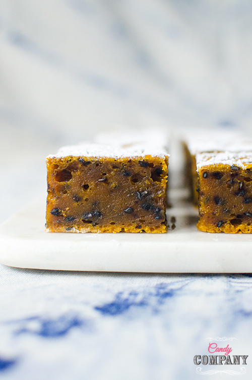 Recipe for Japanese mochi cake with pumpkin and black sesame seeds. Food photography by Candy Company