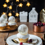 Christmas snow globe cupcakes with gelatin bubles decoration. Food photography by Candy Company