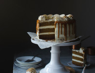 Best ever pumpkin layer cake recipe with spiced salted caramel! Food photography by Candy Company