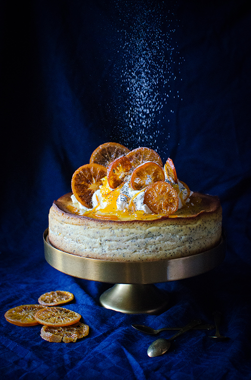 Amazing orange poppy seed cheesecake recipe! Food photography by Candy Company