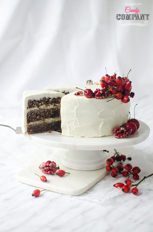 Walnut layer cake with sheep's cheese frosting. Food photography by Candy Company