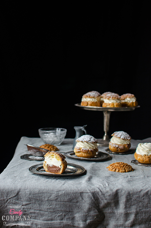 Choux craquelin or cream puf with crumble recipe. Food photography by Candy ompany