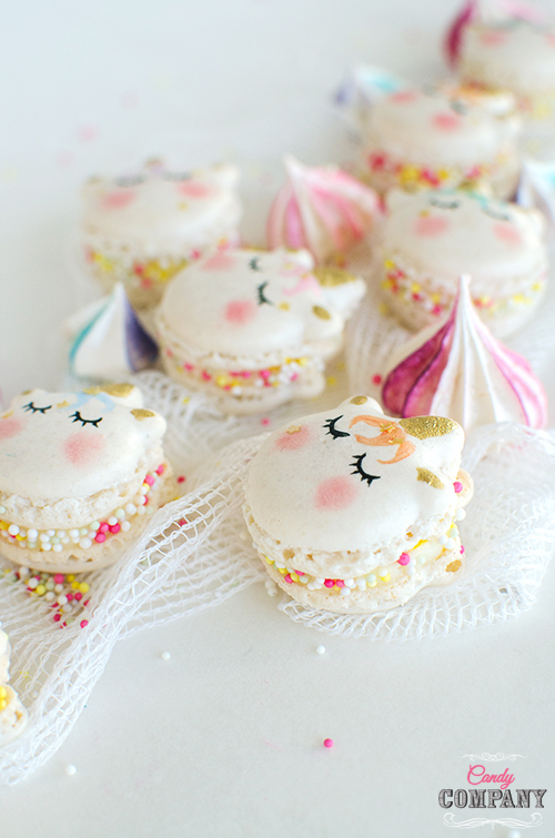 Unicorn macaroons. Mango macrorn macaroon recipe. Food photography by Candy Company
