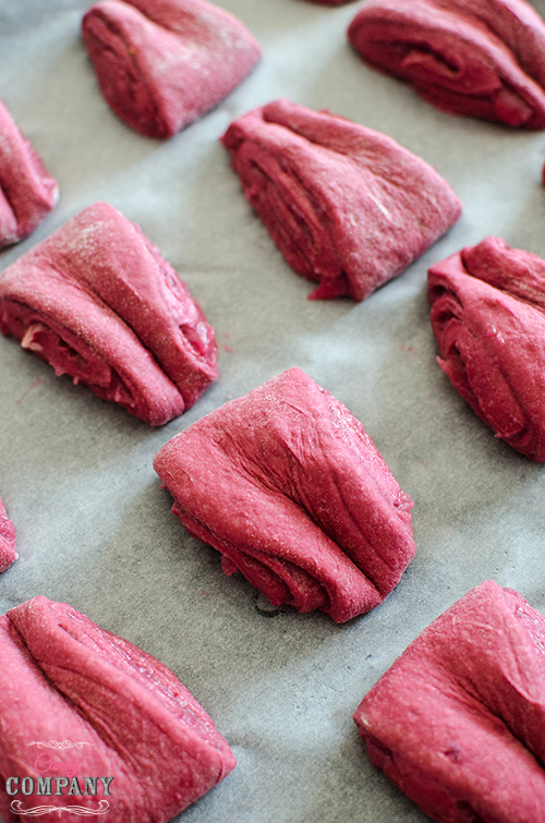Beetroot rolls with rose petal jam recipe. Food photography by Candy Company