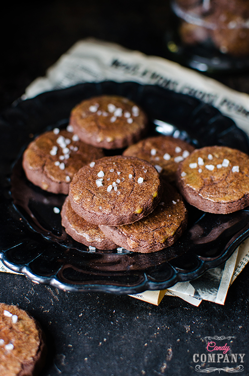 Easy chocolate cookie with sea salt recipe. Food photography by Candy Company