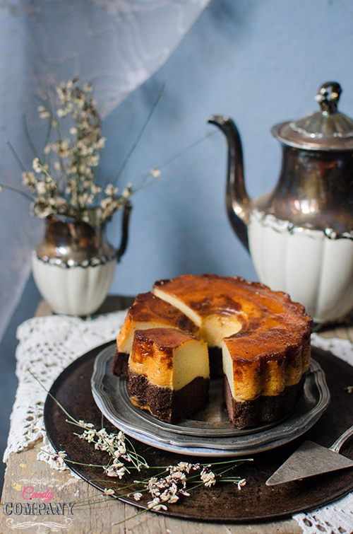 Magic chocolate flan cake recipe. Food photography by Candy Company
