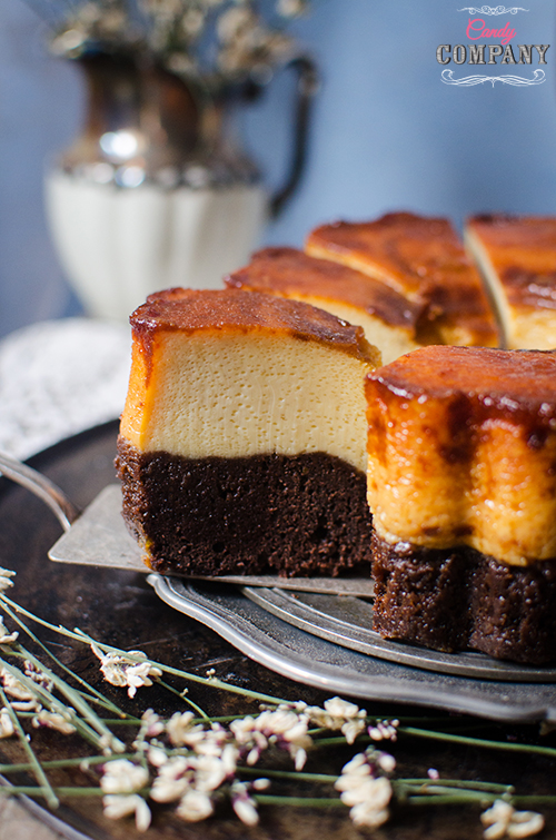 Magic chocolate flan cake recipe. Food photography by Candy Comapny