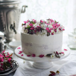 Hibiscus layer cake with rhubarb hibiscus jam. Food photography by Candy Company