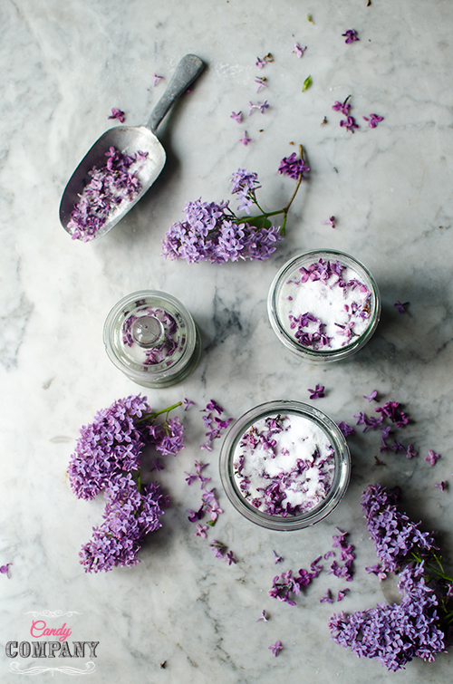 lilac sugar recipe. Food photography by Candy Company