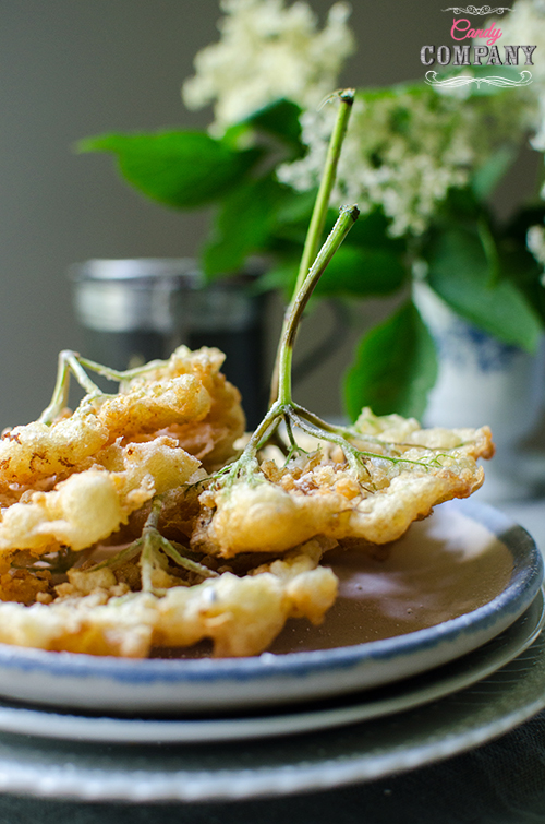 Fried elderflower recipe. Food photography by Candy Company