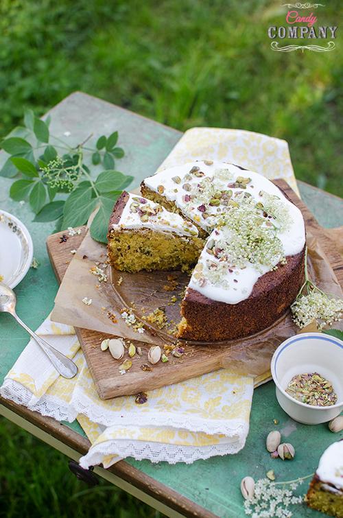 Gluten free elderflower pistachio polenta cake recipe. Food photography by Candy Company