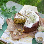 Gluten free elderflower pistachio polenta cake recipe. Food photography by Candy Company
