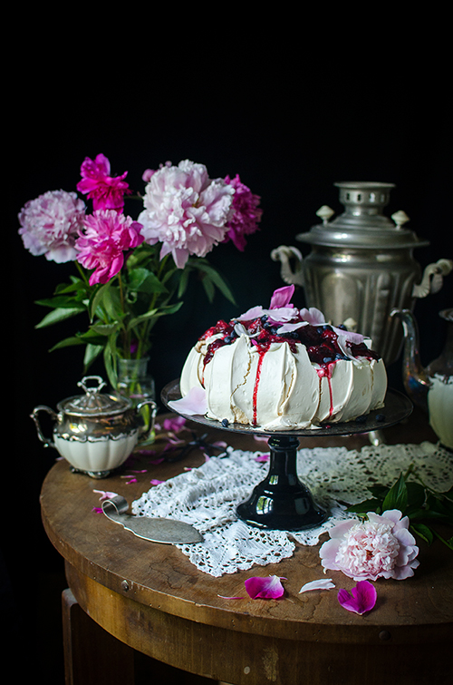 haskap and rhubarb pavlova recipe. Food photography by Candy Company
