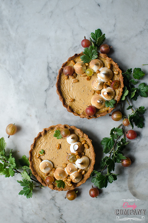 gooseberry tart with toasted meringue and caramelized pine nuts recipe . Food photography by Candy Company