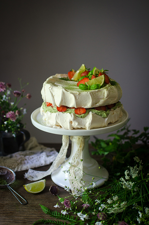 lime & basil strawberry meringue cake recipe.Food photography by Candy Company