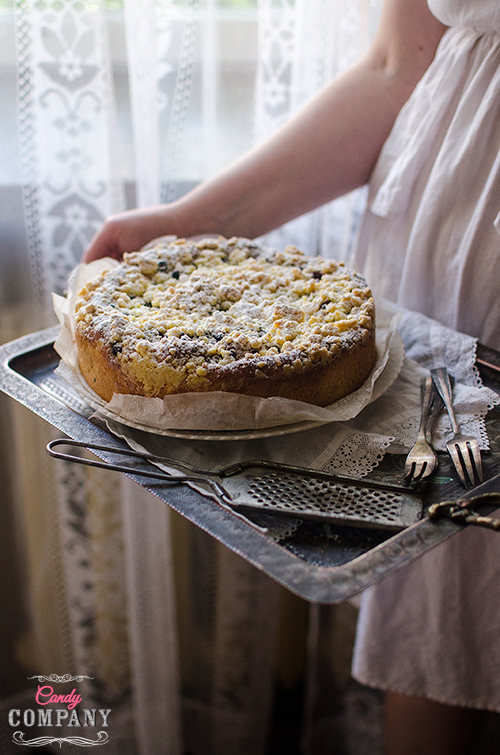 Cherry brioche with streusel topping recipe. Photography by Candy Company