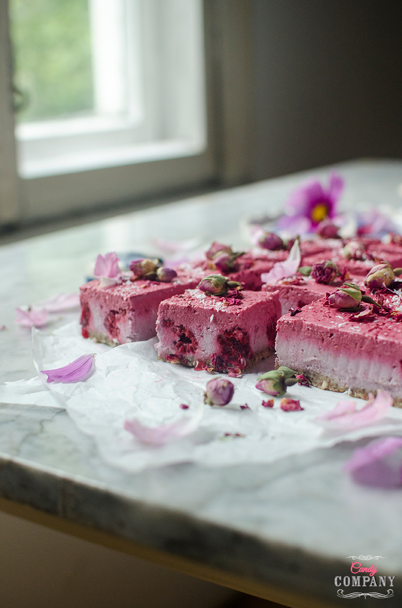 Raw coconut raspberry cheesecake with birch sap recipe Food photography by Candy Company