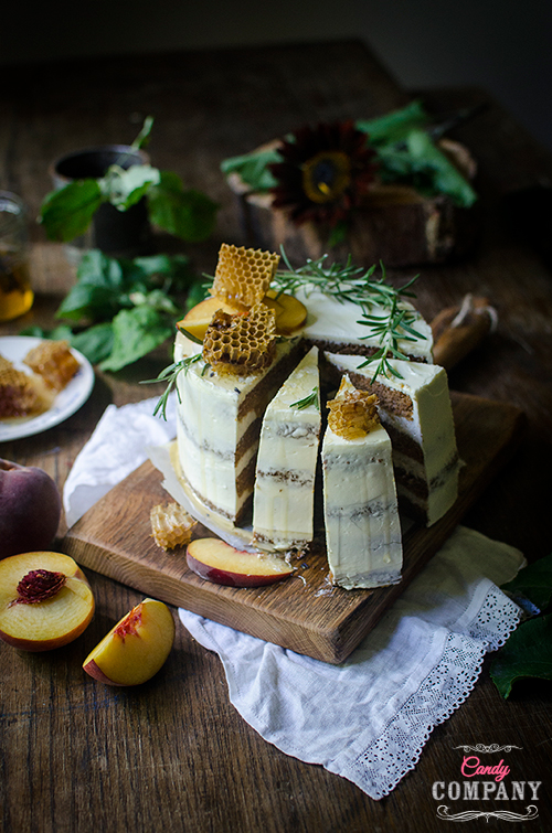 Moist carrot cake recipe with cream cheese frosting and rosemary peach jam. Food photography by Candy Company