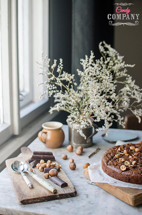 Best brownie ever! With crunchy hazelnut praline. Food photography by Candy Company