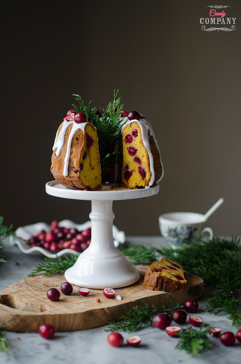 Cranberry mango pound cake recipe. Food photography by Candy Company