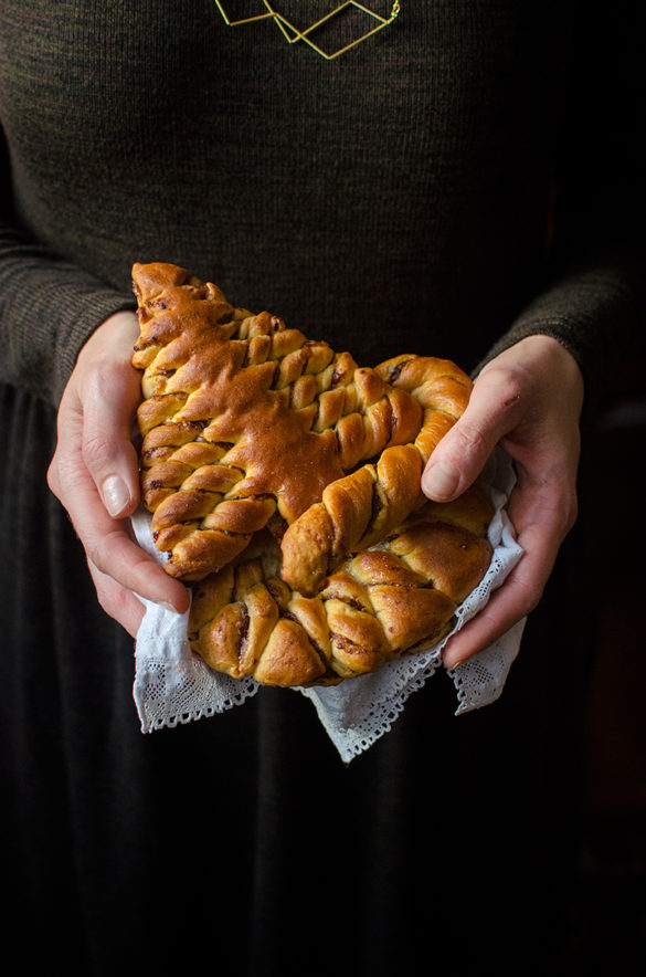 Christmas tree and star braided brioche. Recipe and food photography by Candy Company