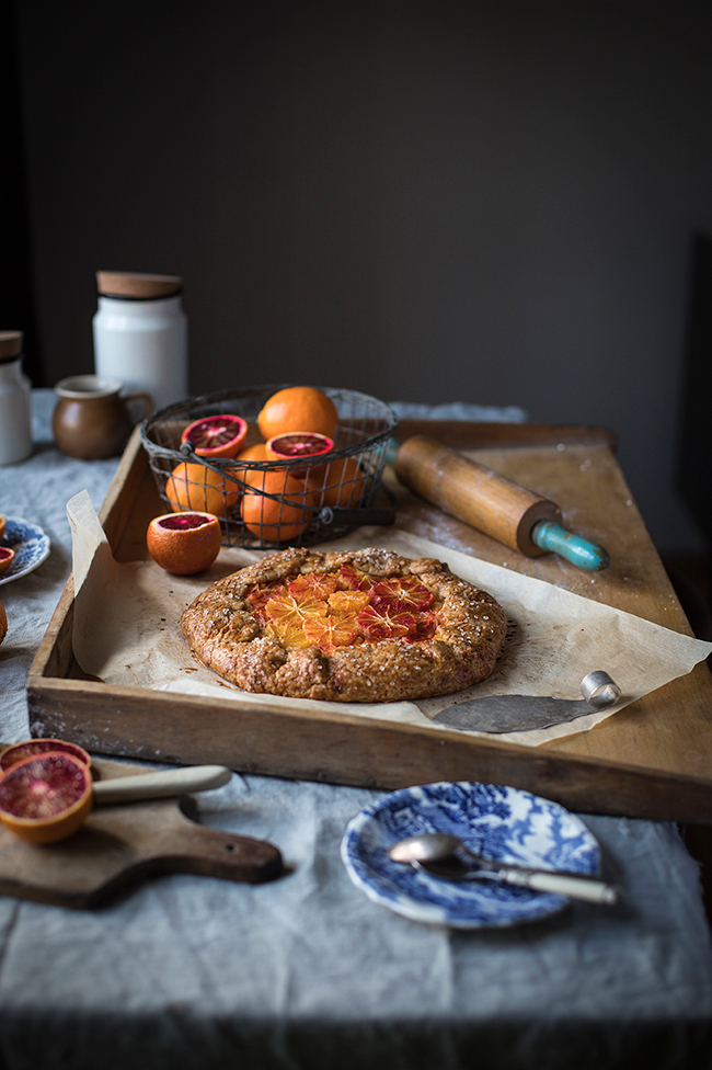 blood orange galette with orange frangipane recipe. Food photography by Candy Company